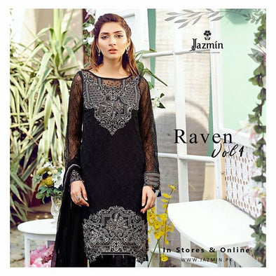 Chiffon dress by jazmin in pure black color with threds and silver tila embroidery Model # C 566