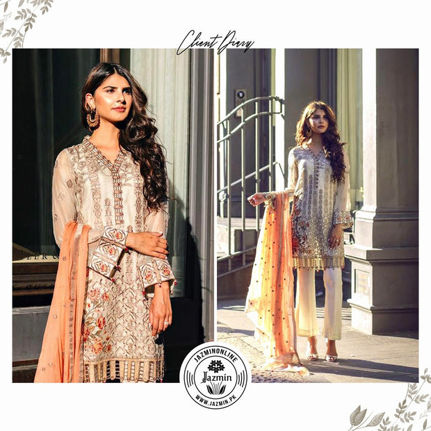 Chiffon dress by jazmin in offwhite and orange color with threds and tila embroidery Model # C 564
