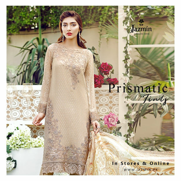 Chiffon dress by jazmin in light tea pink color with threds and tila embroidery Model #C 565