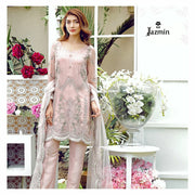 Chiffon dress by jazmin in light pink color with tila and threds embroidery Model# C 562
