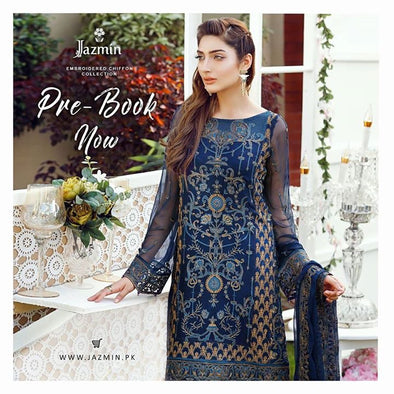 Chiffon dress by jazmin in dark blue color with threds embroidery and patch works Model # C 560