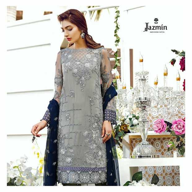 Chiffon dress by jazmin in gray and dark blue color with threds and tila embroidery Model #C 569