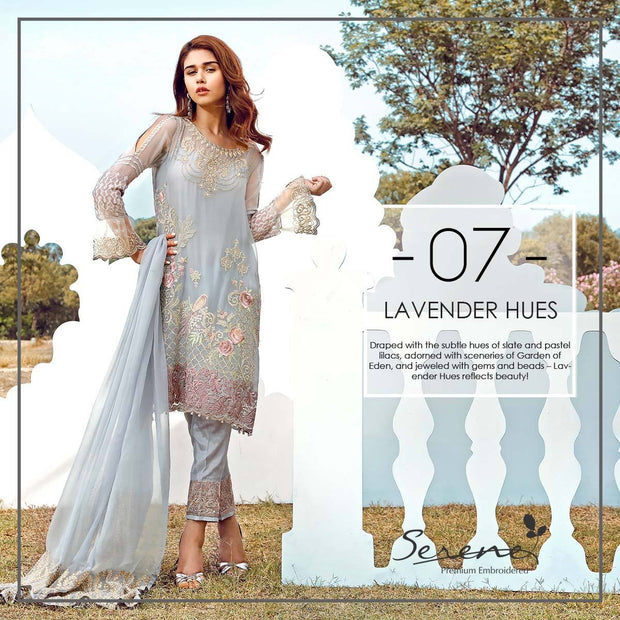 Chiffon dress by sareen in light gray color with threds embroidery Model # C 551