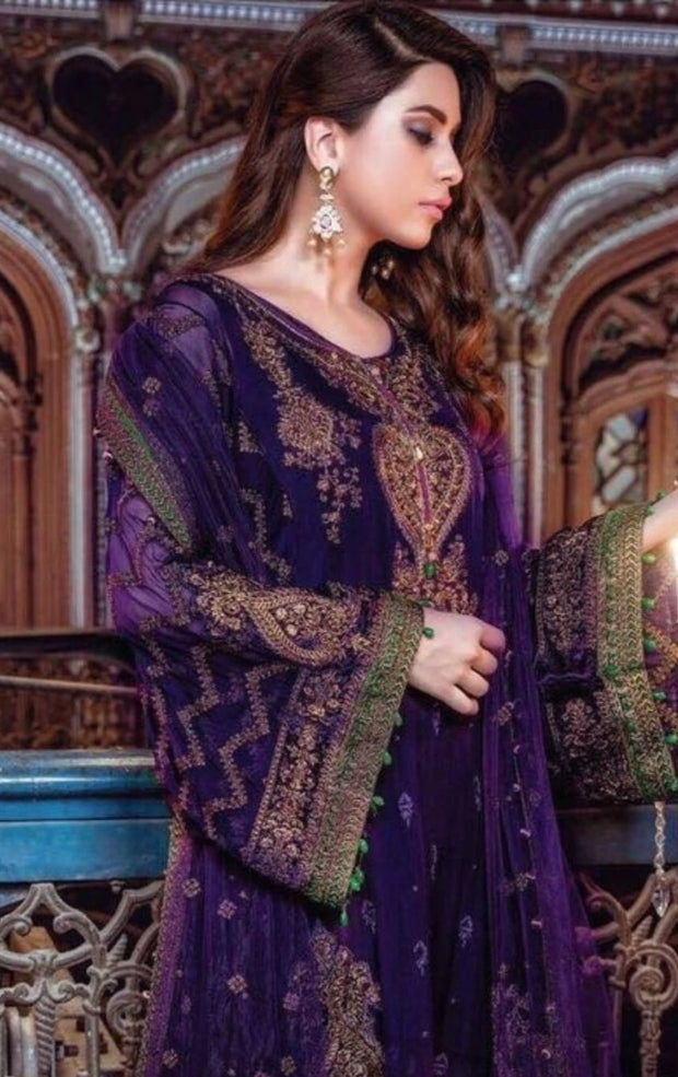 Pakistani Designer Chiffon Dress by Maria B Purple Color Model # C558