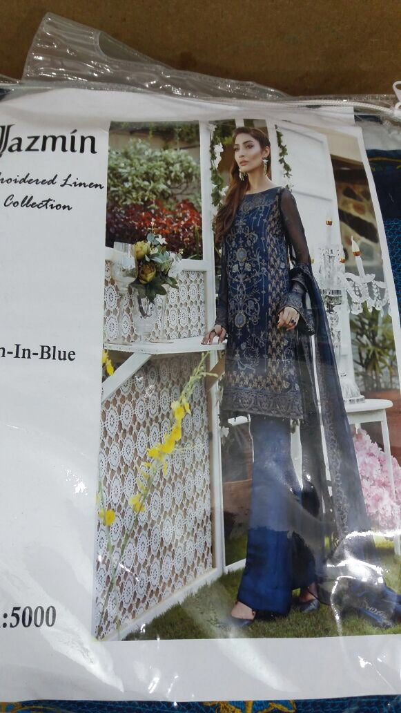Beutifull linen dress by jasmine in dark blue color Model # W 708