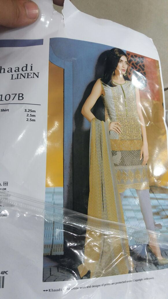Beautiful khadi linen dress in lemon and gray color Model #707W