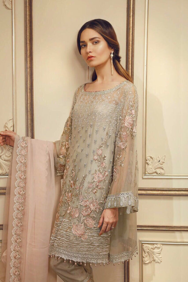 Pakistani designer dress chiffon by chantell jasmine in gray and pink color Model# C 828