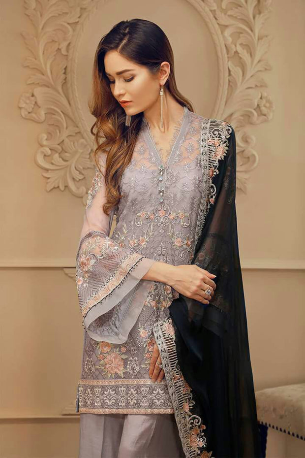 Pakistani designer chiffon dress by chantell jazmine in Gray and dark blue color Model# C 823