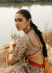 Indian Bridal Ghaghra Choli in Stylish Design for Wedding Back View