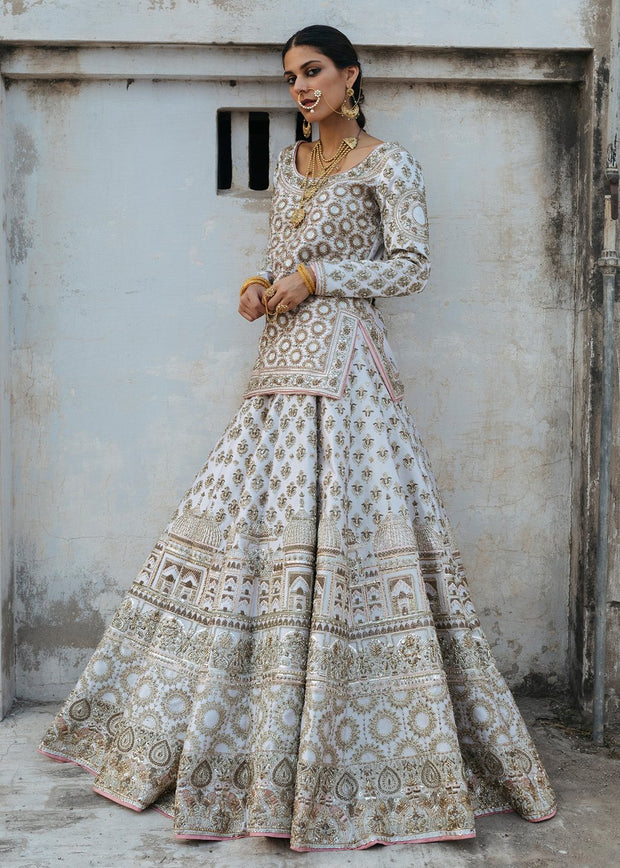 Indian Bridal Lehnga Dress in White Color