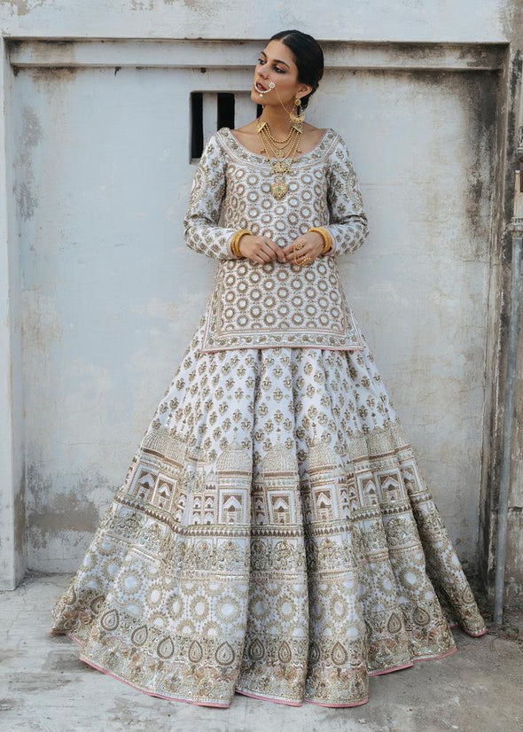 Indian Bridal Lehnga Dress in White Color Front Look