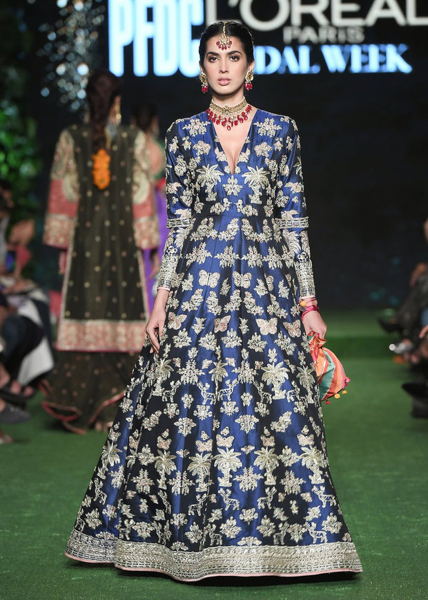 Indian Bridal Long Maxi in Blue Color for Wedding Model Walk