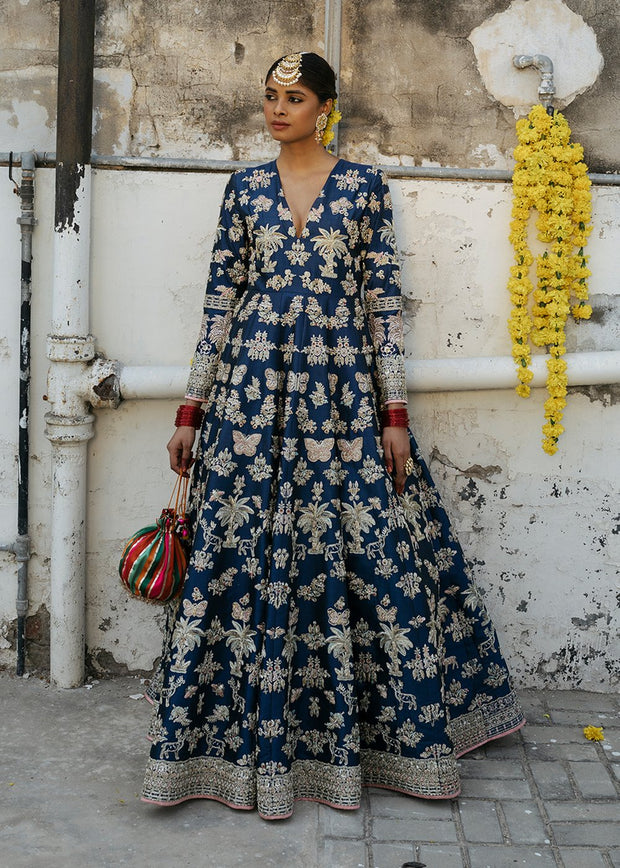 Indian Bridal Long Maxi in Blue Color for Wedding Complete Look