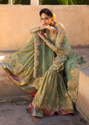 Beautiful Indian gharara dress for wedding wear in green color # B3386