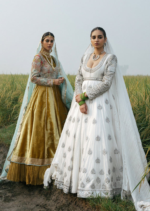 Indian Long Maxi in White Color for Wedding Front Look