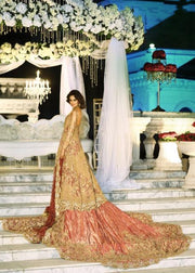 Latest Indian bridal gown dress embroidered in pink and gold color # B3380