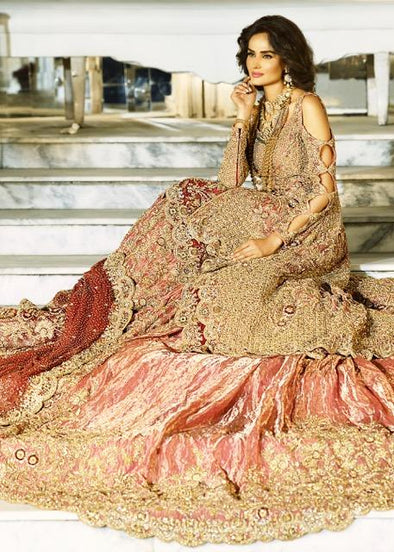 Latest Indian bridal gown dress embroidered in pink and gold color