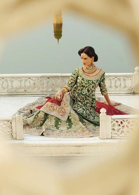 Latest Indian bridal lehnga dress embroidered in green and red color # B3379