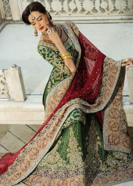 Latest Indian bridal lehnga dress embroidered in green and red color