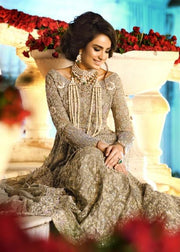 Latest embroidered Indian bridal outfit in lavish ivory color # B3381