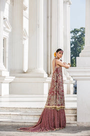 Beautiful embroidered Indian bridal outfit in reddish maroon color # B3345