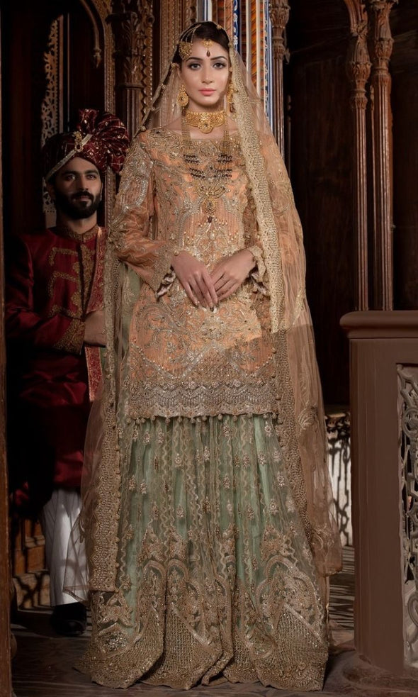 Beautiful Indian bridal outfit for wedding in lavish peach color # B3304
