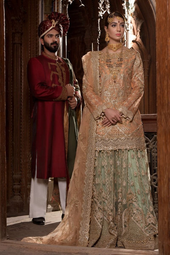 Beautiful Indian bridal outfit for wedding in lavish peach color