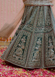 Latest Indian bridal skirt dress in green color for wedding wear # B3411