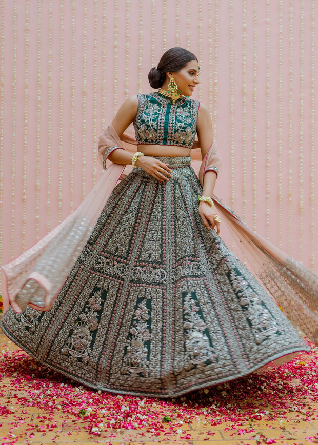 Latest Indian bridal skirt dress in green color for wedding wear