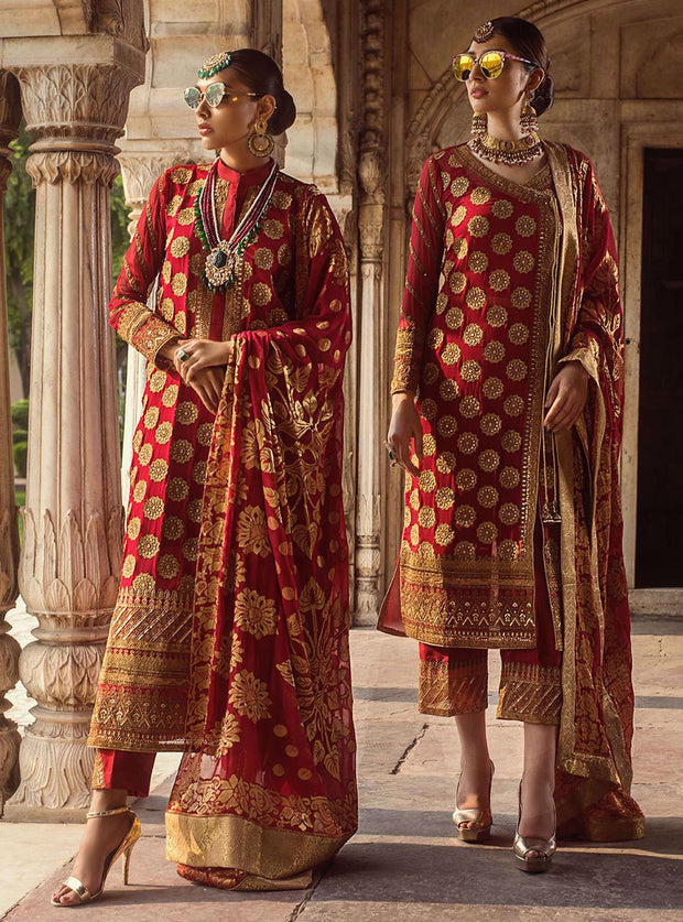 Beautiful embroidered Indian chiffon outfit in lavish red color # P2344