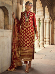 Beautiful embroidered Indian chiffon outfit in lavish red color