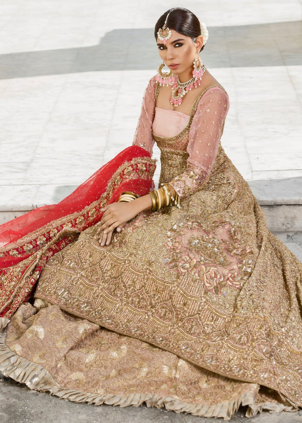 Beautiful Indian designer bridal dress in pink and red color