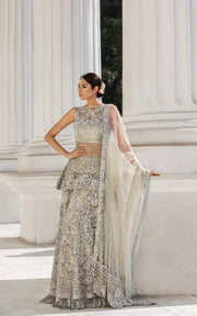Beautiful Indian designer bridal outfit in lavish ivory color # B3344
