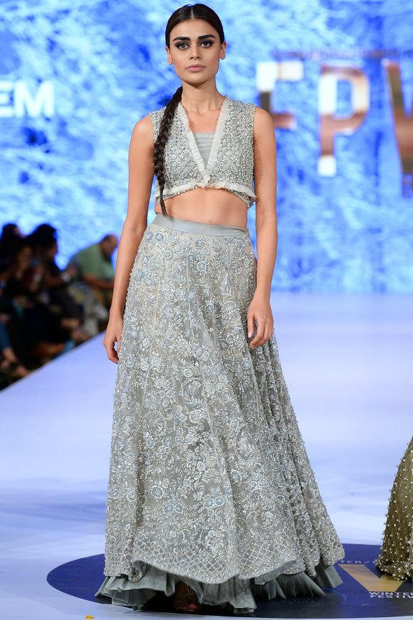 Beautiful Indian designer lehnga embroidered in lavish ivory color