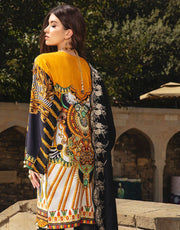 Beautiful Indian designer linen dress in yellow and black color # P2410