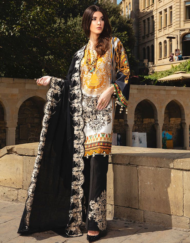 Beautiful Indian designer linen dress in yellow and black color