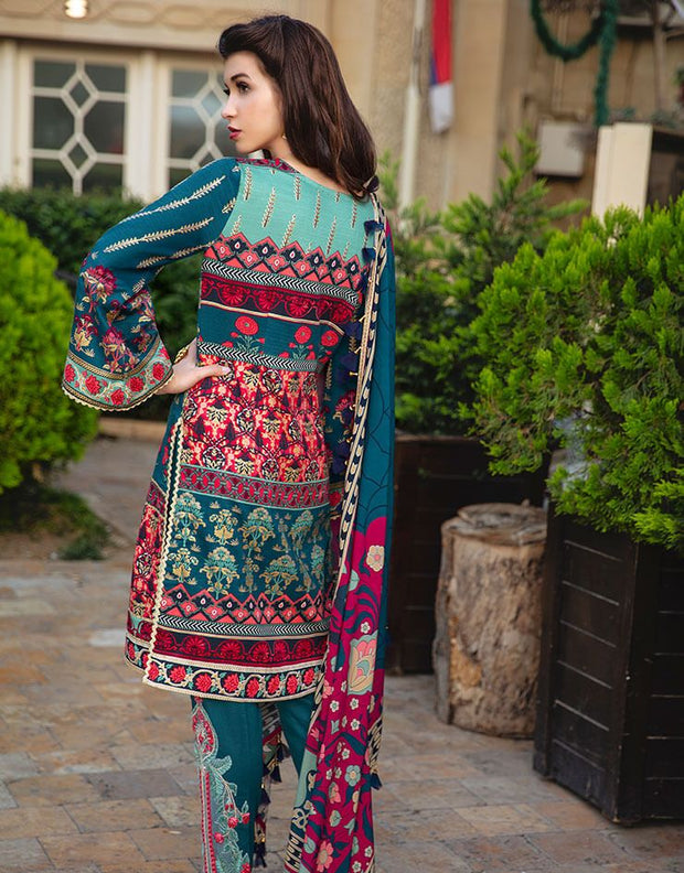 Beautiful Indian designer linen outfit in cyan green color # P2411