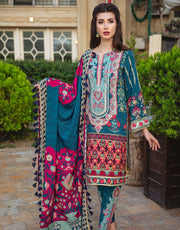 Beautiful Indian designer linen outfit in cyan green color