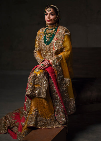 Indian embroidered bridal lehnga dress in mustard and pink color # B3392