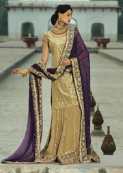Latest Indian embroidered bridal outfit in gold and purple color # B3382