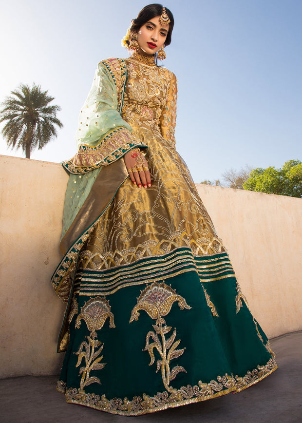 Indian embroidered frock dress for bridal wear in dull gold color # B3388
