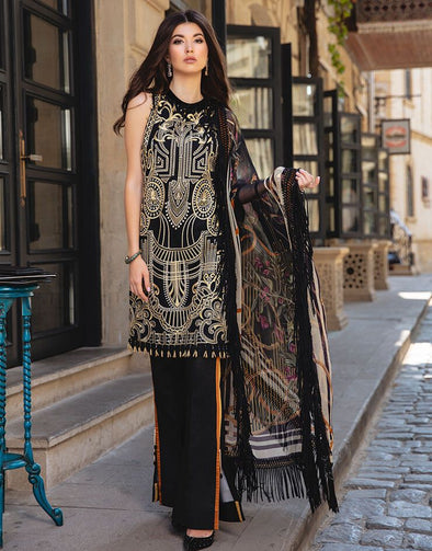 Latest Indian embroidered linen dress in deep black color