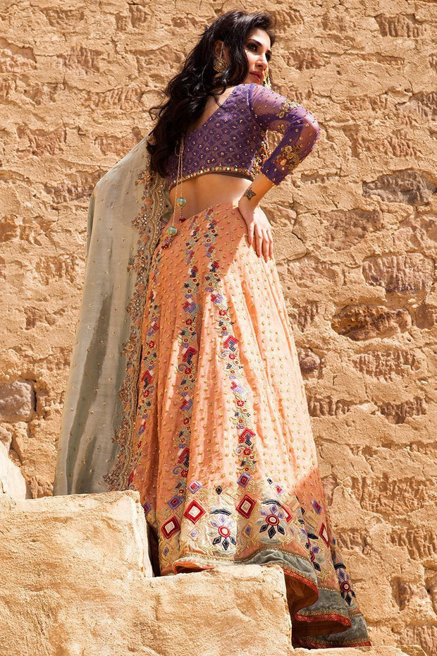 Beautiful Indian ghaghra choli dress in purple and peach color # B3325