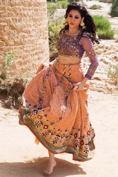 Beautiful Indian ghaghra choli dress in purple and peach color