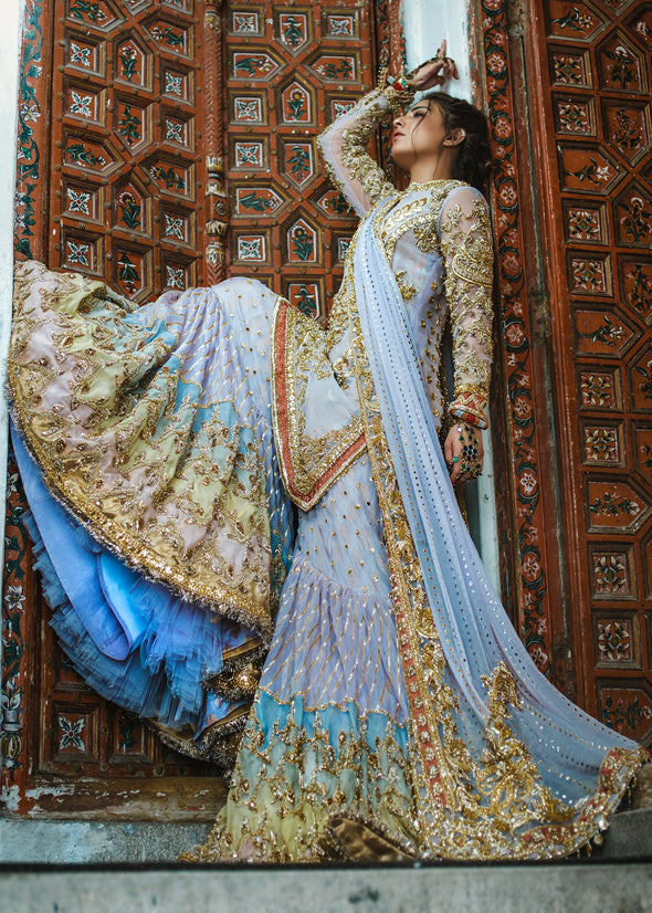 Beautiful Indian gharara dress for wedding wear in blue color # B3384