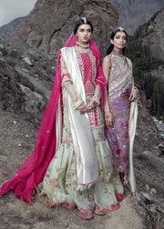 Latest embellished Indian gharara outfit in pink color for wedding # B3407