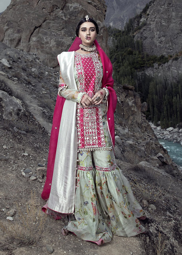 Latest embellished Indian gharara outfit in pink color for wedding