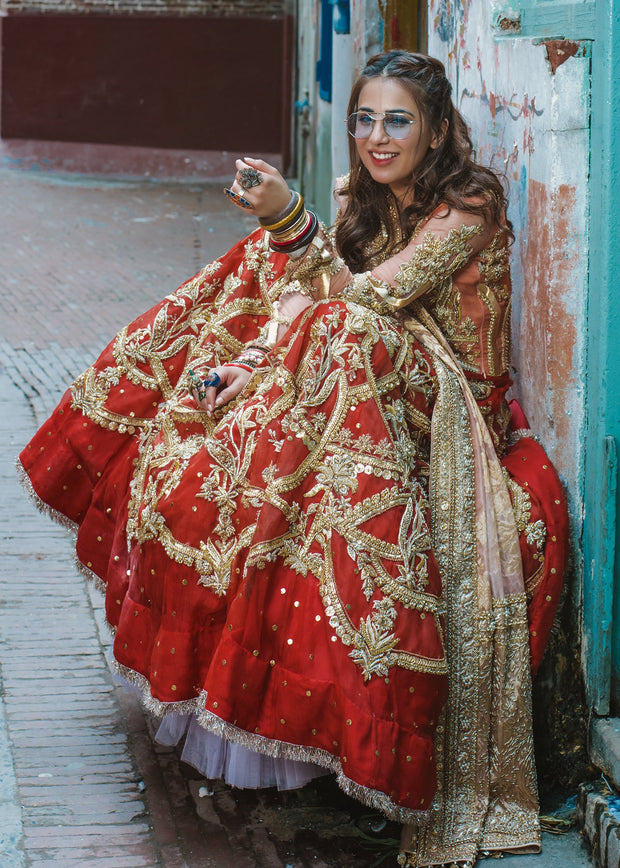 Beautiful Indian lehnga dress for wedding wear in pink and red color # B3385
