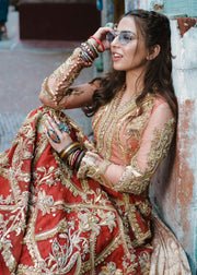 Beautiful Indian lehnga dress for wedding wear in pink and red color