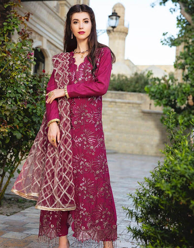 Beautiful embroidered Indian linen dress in pink maroon color
